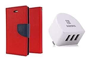 TOS Combo of Flip Cover With Remax 3.1 Amp Three Port Traval USB Wall Chargerfor Sony Xpeira E3 (Red)