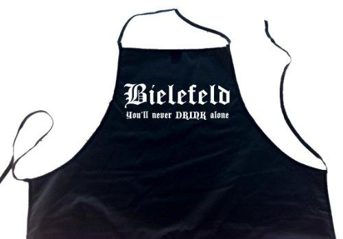 ShirtShop-Saar Bielefeld - You\'ll Never Drink Alone; Schürze (Latzschürze - Grillen, Kochen, Berufsbekleidung, Kochschürze), schwarz