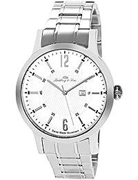 Lindberg & Sons LSSM305 - Reloj de pulsera con fecha analogico para hombre, de cuarzo, calibre suizo, acero inoxidable, plateado