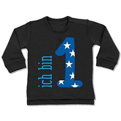 (Shirtracer Geburtstag Baby - Ich Bin 1 Blau Junge Erster - 12-18 Monate - Schwarz - BZ31 - Baby Pullover)