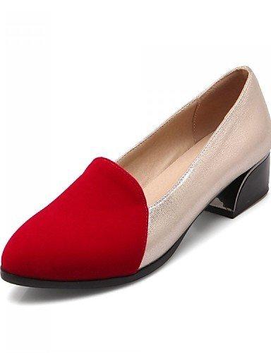 ShangYi gyht Scarpe Donna - Mocassini - Ufficio e lavoro / Formale / Casual - Tacchi / A punta - Quadrato - Felpato / Finta pelle - Nero / Rosso Red