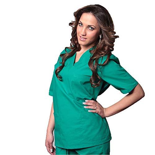 Fratelliditalia divisa ospedaliera 100% cotone casacca + pantalone scollo av unisex colori a scelta (xl, verde)