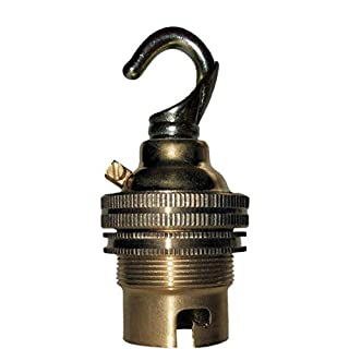 Bayonet Cap (B22) Lamp Holder in Brass with Shade Ring and Deco Styled Chain Hook