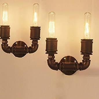 Lampe industrielle Tuyau mural double bras de lumière rétro Steampunk Vintage Applique Noir
