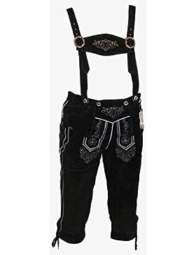 Schwarze Kniebund Lederhose - Trachtenhose - schwarze Trachtenlederhose Größe 60 - Trachten Lederhose in schwarz