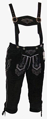 Schwarze Kniebund Lederhose - Trachtenhose - schwarze Trachtenlederhose Größe 56 - Trachten Lederhose in schwarz