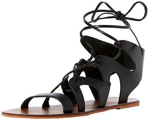 Warehouse Leather Gladiator, Sandalias de Gladiador para Mujer, Negro (Black 77), 39 EU