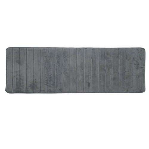 Tappetino lungo per il bagno in memory foam, morbido, antiscivolo, ideale davanti alla doccia, lavabile, 50x 160cm, grey, taglia libera