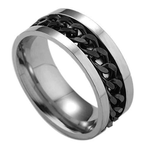 Ogquaton Titan Edelstahl Ring drehbare Kette Ring Ehering für Männer \'Geburtstag Engagement Väter\' Tag Größe 11 schwarz