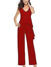 Kasen Chic Combinaison Femme Pantalon Longue Jumpsuit Combinaisons  Combishorts a07edffb997