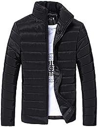 YunYoud Männer Baumwolle Mantel Herren Einfarbig Reißverschluss Jacke  Stehkragen Lange Ärmel Outwear Winter Warm Dick Steppjacke 61fdbe83d8