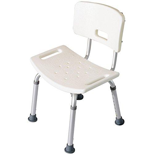 Homcom - Sedile da doccia con schienale - Ausilio da vasca, Sedia Doccia Altezza Regolabile 8 Posizioni Antiscivolo
