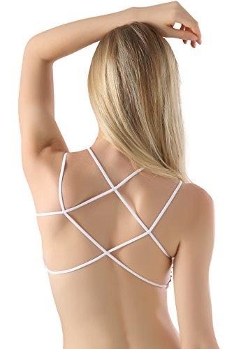 Wealurre Frauen Strappy Bralette gepolsterte Nylon Yoga BH Top sportliche Mini halbe Cami White