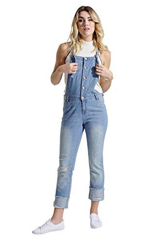 Damen Leichte Latzhose - Stonewash Slim Fit Overalls Abnutzungseffekt OLIVIALIGHTWEIGHT-10
