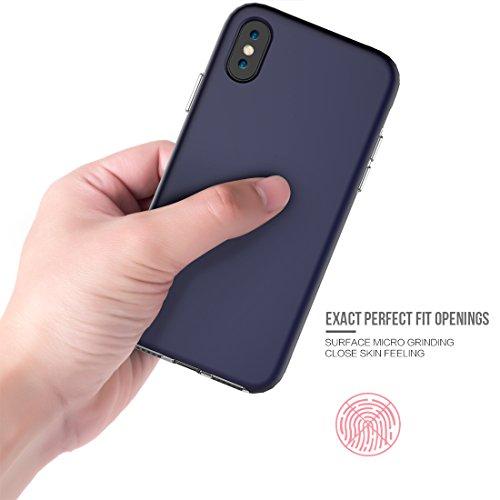 iPhone X Hülle, Voguecase TPU + PC 2 in 1 Silikon Schutzhülle / Case / Cover / Hülle / TPU Gel Skin für Apple iPhone X(LS/Schwarz) + Gratis Universal Eingabestift LS/Dunkelblau