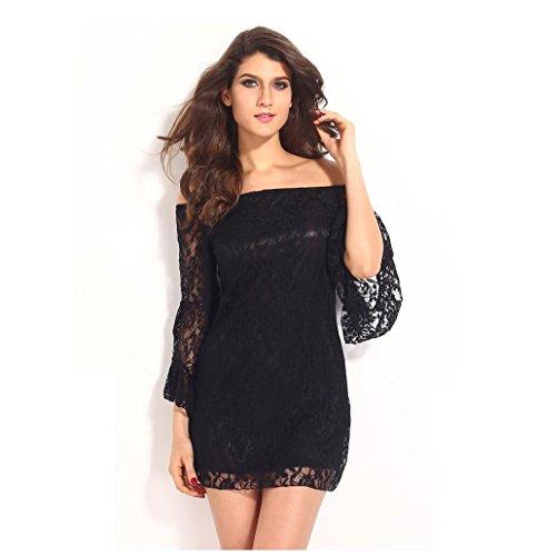 GJX Europe et les Etats-Unis de nouvelles manches longues en dentelle gland robe pour augmenter la taille des femmes Black