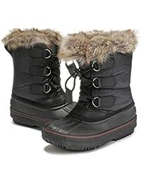 d2339884692a2 AOWEI EC Bottes de Neige Hiver pour Mixte Enfant Chaussure Fourrure Fille  Ski Boots garçon Impermeable