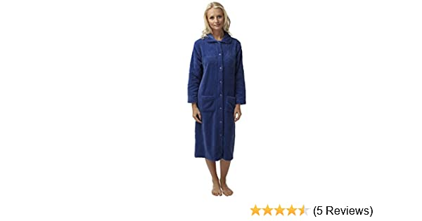 SaneShoppe Ladies Embossed Button Through Flannel Fleece Dressing Gown Robe  (Cornflower 24 26 UK)  Amazon.co.uk  Clothing a2417b031