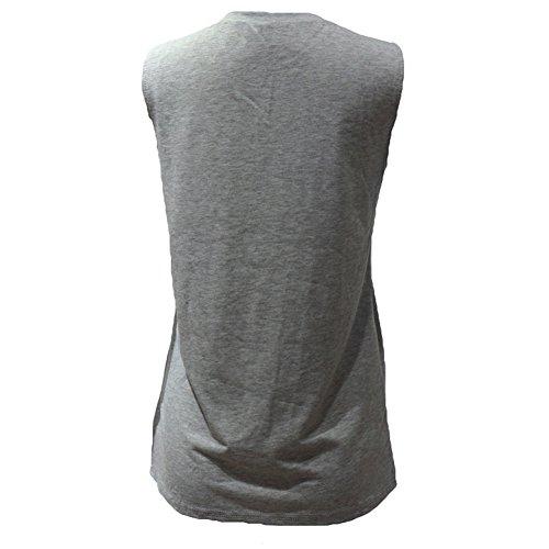 Juleya Maglietta Estiva di Maglietta Estiva di Nuova Moda Maglietta Smanicata da Donna Maglietta Senza Maniche Plus Size Maglieria Allentata Grigio