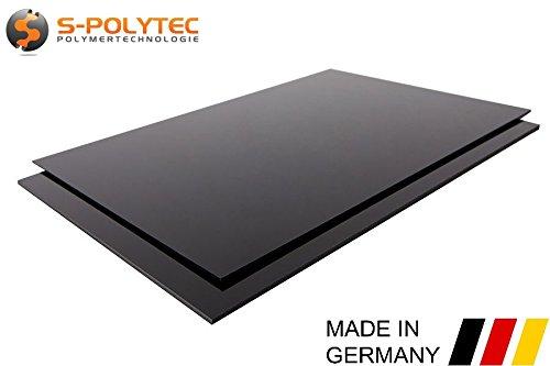 ABS Platte Kunststoff Platten SCHWARZ ODER WEIß 1000x490mm in Stärken 1-10mm TOP Qualität (1mm, Schwarz)