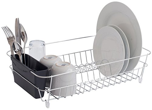 Bloomsbury Mill - Chrome Wire Dish Drainer - Plate Drying Rack with Black Cutlery Holder Basket - Anti-Rust