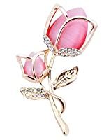 FENGJI Tulip Flowers Gold and Silver Plated Rhinestone Brooch Pin for Women Ladies Festival Gift (White,Hot Pink) Gold Hot Pink