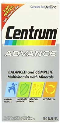 Centrum Advance Multivitamin and Multiminerals 100 Tablets from Pfizer Consumer Healthcare