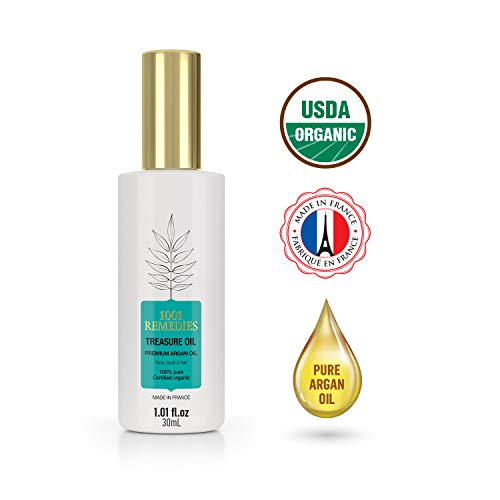 1001 Remedies Arganöl Bio Kaltgepresst- Haaröl, Wird das Haarwachstum Beschleunigen, Hilft bei Haarausfall Frau- Natürliches Vitamin E Öl Ideal als Anti Pickel Serum für das Gesicht 100% Pur-Vegan