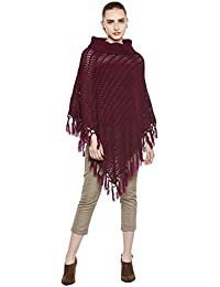 Cayman Wine Acrylic Woollen Knitted Poncho Sweater