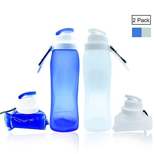 lingye Trinkflasche Faltbare Silikon Wasserflasche Lebensmittelsicherheits-Materialien Ungiftig und geschmacklos BPA-frei und Weichmacher Für Outdoor und Freizeit 500ml * 2pcs (Blau und Weiß)