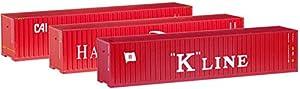 Herpa 66730 Hamburg Süd/K-Line/CAI - Juego de recipientes (3 x 40 pies), Color Rojo
