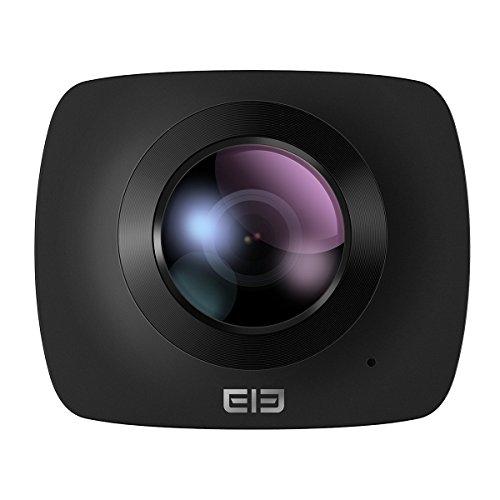 Virtuelle Kamera (ELE CAM 360 Grad Panorama Kamera VR-Vollsphärenkamera 220° Fisheye Wilde Winkelobjektiv 1080P ( Full HD ) 30FPS kamera Ball Überwachungskamera Wifi für virtuelle Brille Sports Action Kamera, mit Halterung, 32G-SD Karte)
