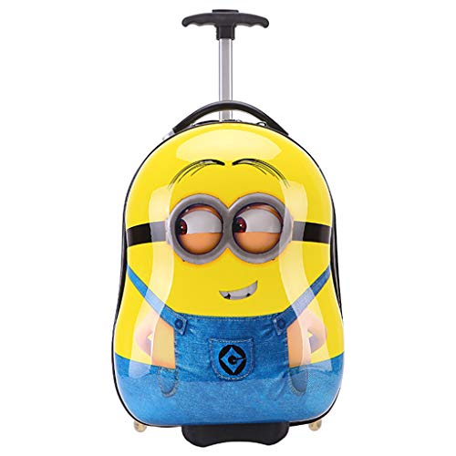 Gucili Maleta para Niños, Anime Cartoon Minions Equipaje para Niños Holiday Holiday Trolley Bags Light Resistente Al Desgaste Maleta 18 Pulgadas 20-35L