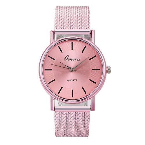Glänzenden Pulver (KiyomiQvQ Damen Uhren Glänzend Mode Zifferblatt Armbanduhren Business Klassisch Stahlband Wristwatch Helles Pulver Sternenhimmel Elegant Watch Quarz Uhr (F))