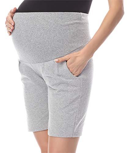 Be Mammy Pantalones Premamá Cortos Shorts Ropa Verano BE20-234 (Melange, 38 (Talla del Fabricante: M))