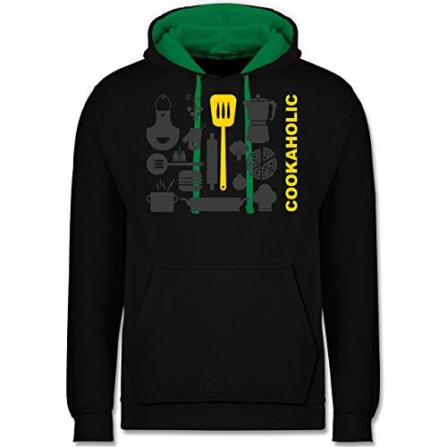 Küche - Cookaholic - Kontrast Hoodie Schwarz/Grün