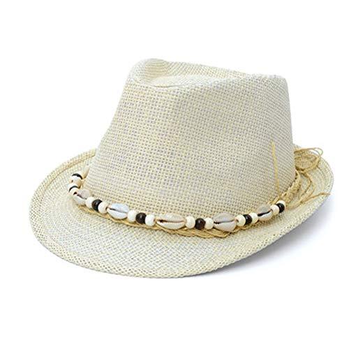AINIYF Panama Hüte für Frauen rollbar, Damen Sommer Floppy Sun Hüte, Fedora -Packable, handgewebter Strandhut (Farbe : Beige) (Hut Panama-frauen)
