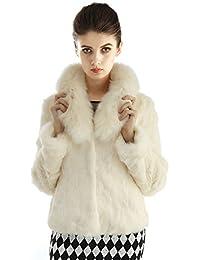 Bellerfur Conejo Natural Las mujeres del abrigo de pieles de zorro chaqueta de cuello