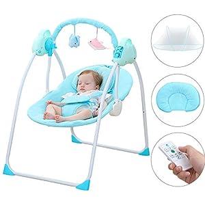 SANPLO Babyschaukel Elektrische Wiege Automatische Stubenwagen Babykorb Bett Neugeborenen Krippe Rockmusik Schlafen…