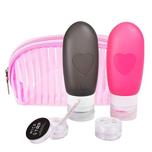 Silikon-Reise-Flaschen Set, tragbare & auslaufsichere Design mit Kulturbeutel In Rosa Kosmetik-Container TSA genehmigt BPA frei für flüssige wie Creme, Shampoo, Sonnencreme, Spülung, Lotion und Toi (Schutz-lotion Tägliche)