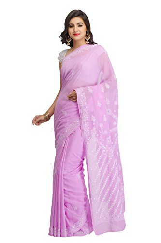 New Chikan Collection Casual Wear Mauve Faux Georgette Saree With Designer Blouse...