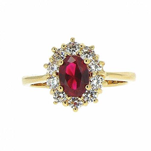 ISADY - Ada Gold Rubis - Bague Femme - Plaqué Or 750/000 (18 carats) - Oxyde de zirconium Rouge - Taille 54
