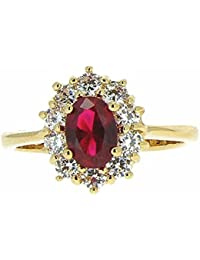 Isady - Ada Gold Rubis - Ladies Ring - 18ct Yellow Gold Plated - Cubic Zirconia Red