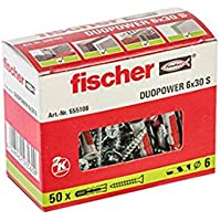 Fischer Taco Duopower 6X30 S / (Caja de 50 Uds), 555106, Gris y Rojo