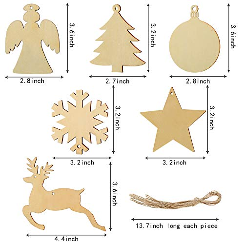 60 Pieces Cristmas Wood Tags Ornaments Wooden Cutout Hanging Wood Crafts Embellishments with 60 Pieces Twines for Christmas Hanging (Color 1)