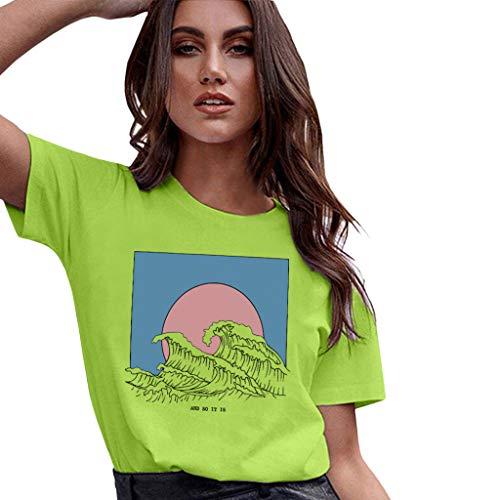 t Top Mit Anker Druck Rundhals Kurzarm Ladies Sommer Shirt Sailing Tee Leicht Und Luftig Sehr Angenehm Zu Tragen Kurzarmshirt Basic Tops(Grün-c,S) ()