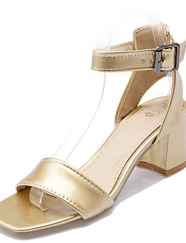 LFNLYX Scarpe Donna-Sandali-Matrimonio / Formale / Casual / Serata e festa-Tacchi-Quadrato-Materiali personalizzati-Bianco / Argento / Dorato golden