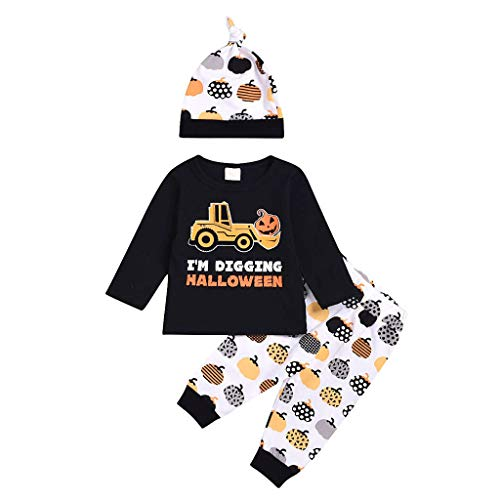 Romantic Jungen Kinder Baby Halloween Kostüme 3tlg Kurzarm Oberteile Kürbis Gedruckt Top, Kürbishosen, Hut Set Baby Kleidung Set für Karneval Party Halloween Fest (Günstige Queen Of Hearts Kostüm)