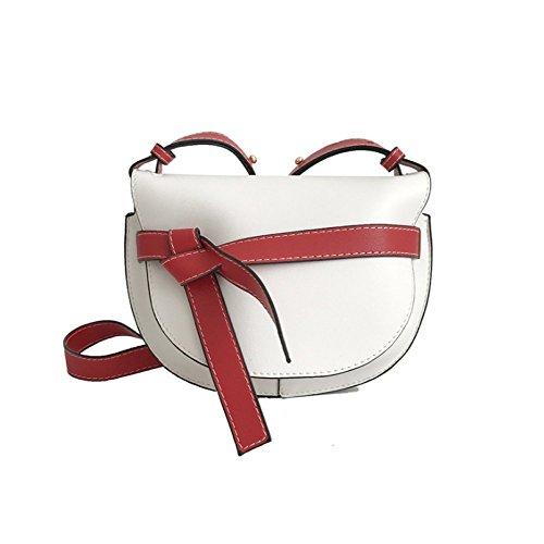 GYZ Damentasche Eine Schulter Crossbody Brieftasche Leder Sattel Mini Colorblock Halbkreis Durchsetzt Bow-Knoten Schwarz Weiß Braun Hellgrau Weich Retro Elegant Charmant, White -