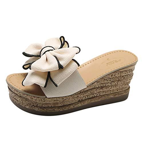 iHENGH Sandali Open Toe con Zeppa, Sandalo Donna Aperti Estate Sandals Women Casual Fashion Gift(Beige,39)